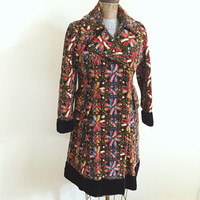 Vintage, 1960, Jr Junction, Tapestry, Boho Chic, Tapestry, Mid Weight, Fall, Jacket, Winter, Pea Coat, Womens Size Small