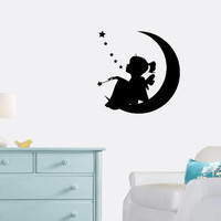 Girl Moon Stars Wall Decal - Dream - Home Decor - Living Room - Bedroom -Kids Room - Nursery - Gift Idea - High Quality Vinyl Graphic