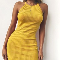 Halter Slim Knit Mini Dress