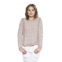 Womens Long Sleeve Cream/Clear Rey Pullover Vintage Sweater By One Grey Day
