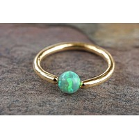 Gold Hoop with Peridot Green Opal Cartilage Hoop Tragus Helix Rook