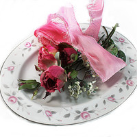 Romantic Vintage Rose Platter, Shabby Tableware, French Chic Valentine's Day Decor, Valentines Table