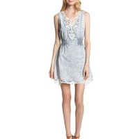 Miss Me Lace Trimmed Sleeveless Chambray Dress, Denim Blue, Large