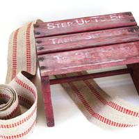 vintage red rustic wood stool handmade step by KatyBitsandPieces