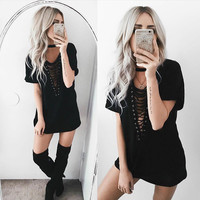 9 Colors Summer Plus Size Lace Up T-Shirt Dress Sexy Deep V Neck Half Sleeve Hollow Out Women Vestidos Night Club Party Dress