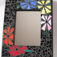"""Mosaic Mirror (11"""" x 9""""), Funky Floral Handmade Stained Glass Mosaic Design"""