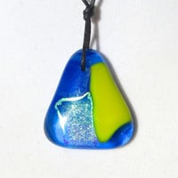 Glass Necklace Yellow Blue by The Wild Willows