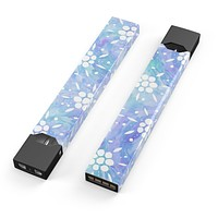 Blue Watercolor and White Flower Print Pattern - Premium Decal Protective Skin-Wrap Sticker compatible with the Juul Labs vaping device