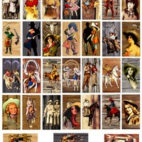 "domino collage sheet vintage cowboys cowgirls on wood art clipart digital downloadable 1"" x 2"" inch country western rodeo images printables"