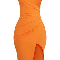 Lauriell Bright Orange Wrap Front Crepe Midi Dress - Dresses - PrettylittleThing - Shop Dresses - Shop more affordable fashion online now at PrettyLittleThing.com . Free Returns . Free UK Delivery . Order NOW!auriell Bright Orange Wrap Front Crepe Midi Dr