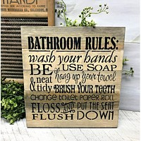 Bathroom Rules Sign, Rustic Bathroom Decor