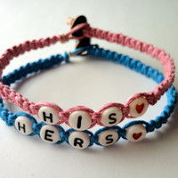 His Hers Couples Bracelet Set, Pink and Blue Macrame Hemp