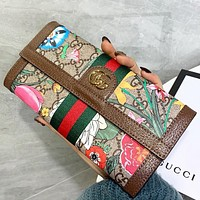 GUCCI New fashion  more letter floral print leather wallet purse handbag