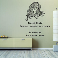 Beauty Salon Decor, Inspirational Wall Decal Quote, Great Hair Quote, Salon Advertisement Decal, Make Appointment Decal< Long Hair  nm008
