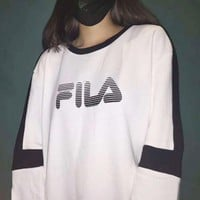FILA Fashion Splicing Long Sleeve Hedging Pullover Sweater G-A-HRWM