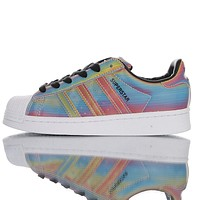 Adidas Originals SUPERSTAR Colorful Laser Low-Top Shell Head Sneakers Shoes