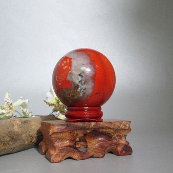 Red Agate Sphere & Stand