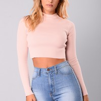 Chyna Crop Sweater Top - Rose