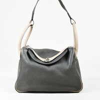 "Hermes ""Vert Bronze"" Gray ""Clemence"" Leather ""Lindy 30"" Bag"