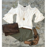 Lounging Day Cold Shoulder Top: White