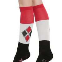 Licensed cool Suicide Squad DC  Harley Quinn Knee High Socks Diamond Logo Ladies SZ 9-11