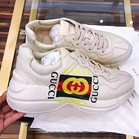 GUCCI Daddy shoes casual sports shoes thick soles increased shoes retro small dirty shoes beige