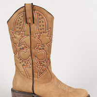 Embroidered Studded Almond Toe Cowboy Mid Calf Boot