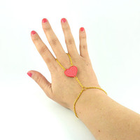 Ring bracelet combo with CD recycled pearl : Fushia pink heart with candy pink scrolls, and golden chain - by Savousepate