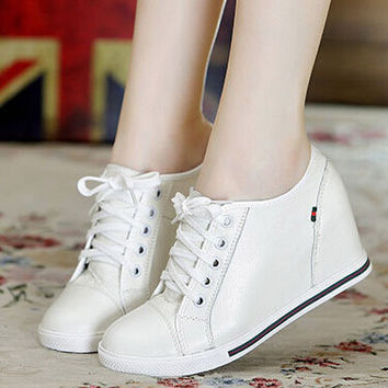 Hot-selling !2015 Lsabel Marant Style Women Wedge Sneaker Height Increasing Shoes Platform PU Leather Platform Casual Boot warm