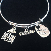 Love Life, Retired On the Beach Expandable Charm Bracelets Adjustable Bangles Office Worker Gift Retirement