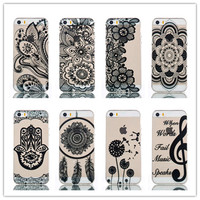 New 2016 Clear Black Lace Floral Flower Pattern  Ultrathin Soft TPU phone Case Cover for iPhone 5 5S  High Quality phone cases
