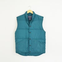 Vintage 90s Lands End Teal Green Goose Down Feather Vest Sleeveless Outdoors Hiking Gear Size Mens Small Womens Medium Unisex