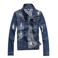Men's Stylish Studded Denim Jacket Slim Jeans Outwear Blue