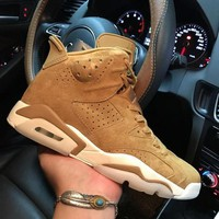 Air Jordan 6 Retro Golden Harvest 384664-705 VI Brown Men's Height Increasing Shoes Fashion Shoes Top Quality With Original Box US7-13
