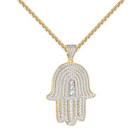 "Solitaire Hamsa Hand Pendant 14k Gold Over Sterling Silver 24"" Chain Iced Out"