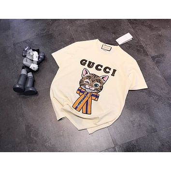 """Gucci"" Women All-match Fashion Sequin Letter Cute Cat Embroidery Short Sleeve Cotton T-shirt Top Tee"