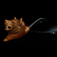 Wolf Design Hand Carved Pipe