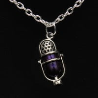 Welcome to Night Vale – purple and silver tone NVCR microphone fandom necklace