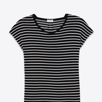Loose T SHIRT IN BLACK and White Striped Cotton Jersey