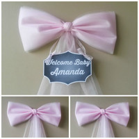Girl Baby Shower Decoration Set, Pink Baby Shower Bow, Hospital Door Decoration, Personalized Baby Baby Shower Bow, Birth Announcement,