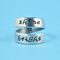 shine bright - Hand Stamped Spiral Aluminum Ring, Star Symbol RIng, Script Font