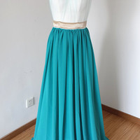 2015 Backless Sweetheart Long Teal Blue Chiffon Long Prom Dress