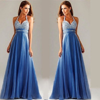 New Festa Fashion Sequins splicing Yarn dress 2017 Prom Party Neck hung sexy backless dress Summer Sexy Maxi Women Dress-0412