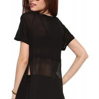 Chiffon Short Sleeve Front Pocket T-shirt with Slits