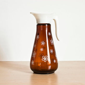 Vintage Thatcher Glass Manufacturing Company Amber Syrup Dispenser White Daisy Print, 1960s Flowers