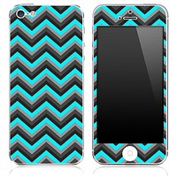 Turquoise-Black-Gray Chevron Pattern Skin for the iPhone 3, 4/4s or 5