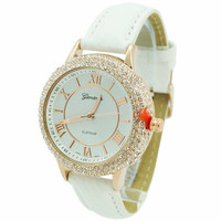 4 Row CZ Roman Numeral Leather Watch - White/Rose