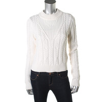Guess Womens Cable Knit Long Sleeves Crop Sweater