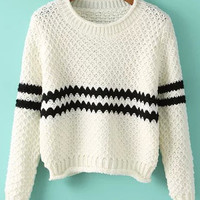 White Striped Long Sleeve Cropped Knit Sweater
