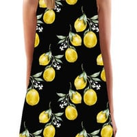Black Lemon Print Round Neck Mini Dress